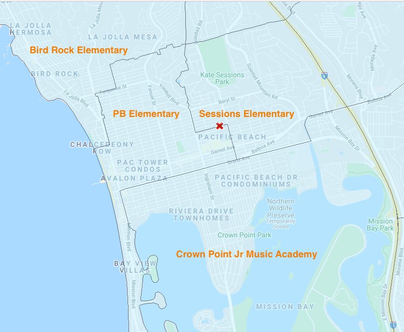 Map of how schools in Pacific Beach are assigned based on location within PB.
